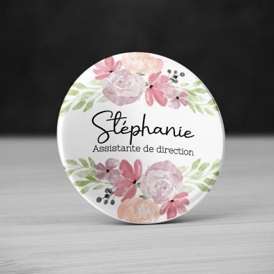 Badge personnalisé Fleurs Aquarelle