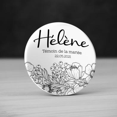 Badge Mariage Fleurs Noir et Blanc