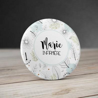 Badge personnalisé Fleurs Mint