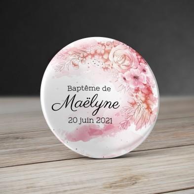 Badge bouquer de fleurs Aquarelle