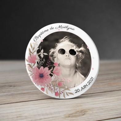 Badge Couronne de fleurs avec photo