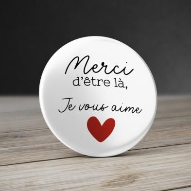 Badge coeur avec message personnalisé