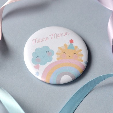 Badge Future Maman Arc-en-ciel