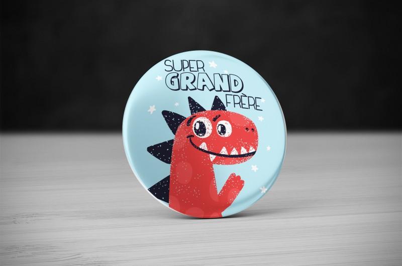 Badge Super Grand Frère Dinosaure