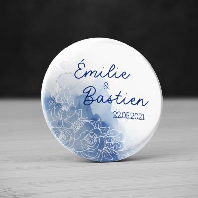 Badge Mariage Aquarelle bleue