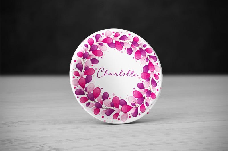 Badge prénom Rose et violet