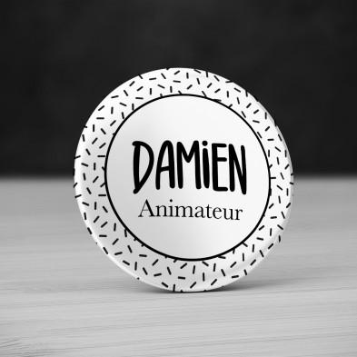 Badge personnalisé confetti Noir et Blanc